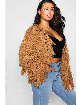 Plus Shaggy Knit Cropped Cardigan by Boohoo