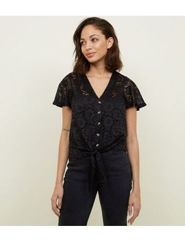 Black Lace Button Tie Front Top by New Look