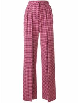 Fendihigh Waist Flared Trousershome Women Fendi Clothing High Waisted Pants Romy 100 Pumpscheck Double Breasted Blazercheckered Shirt With Crochet Lace Collarhigh Waist Flared Trousers by Fendi