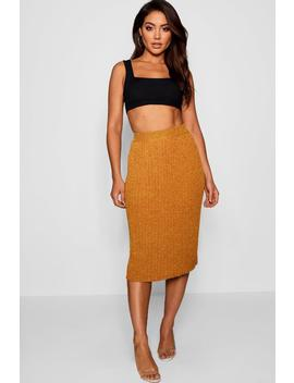 Metallic Pleated Knitted Midi Skirt by Boohoo