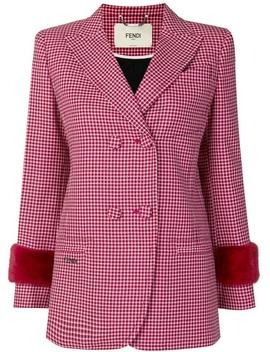 Fendicheck Double Breasted Blazerhome Women Fendi Clothing Blazers Romy 100 Pumpshigh Waist Flared Trouserscheckered Shirt With Crochet Lace Collarcheck Double Breasted Blazer by Fendi