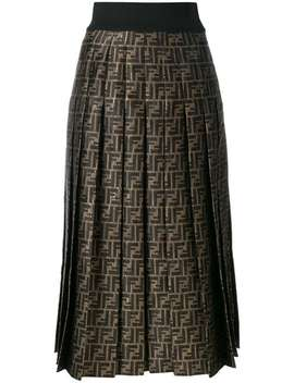 Fendi Ff Logo Pleated Skirthome Women Fendi Clothing Pleated Skirts Open Your Heart Sweater Ff Logo Pleated Skirt by Fendi