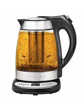Chefman Electric Glass Digital Tea Kettle With Free Tea Infuser,360 Degree Swivel Base,Built In Precision Temperature Control Panel Base & Keep Warm Function,Removable Tea Infuser,1.7 Liter/1.8 Quart by Chefman