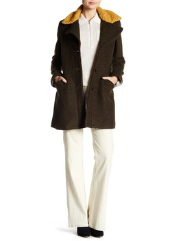 Fit & Flare Faux Shearling Trimmed Wool Blend Coat by Laundry By Shelli Segal