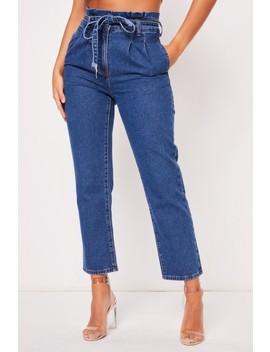 Gloria High Paper Bag Indigo Jeans by Misspap