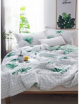 Grid &Amp; Leaf Print Solid Quilt by Romwe
