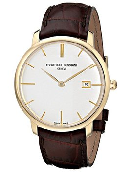 Frederique Constant Men's Fc306 V4 S5 Slim Line Gold Tone Watch With Brown Band by Frederique Constant