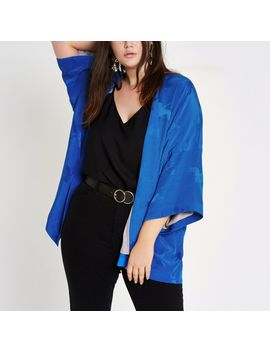 Plus Blue Jacquard Kimono by River Island