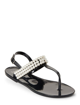Pearl Embellished Jelly Thong Sandals by Dizzy