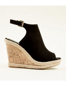 Black Suedette Slingback Peep Toe Cork Wedges by New Look