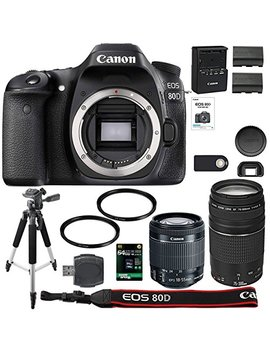 Canon Eos 80 D Digital Slr Camera + 18 55mm Stm + Canon 75 300mm Iii Lens + Sd Card Reader + 64gb Sdxc + Remote + Spare Battery + Accessory Bundle   International Version by Aom