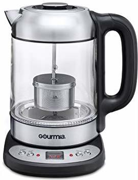Gourmia Gdk290 Electric Glass Tea Kettle With Built In Precise Steeping Tea Infuser, Programmable Temperature Pedestal Control Panel, 2 Quarts by Gourmia