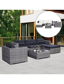 Costway 6 Pc Furniture Set Patio Sofa Pe Gray Rattan Couch 2 Set Cushion Covers by Costway