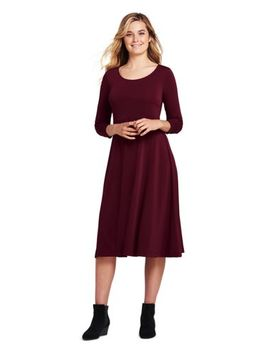 Women's 3/4 Sleeve Matte Jersey A Line Dress by Lands' End