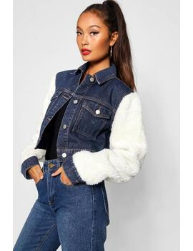 Teddy Sleeve Denim Jacket by Boohoo