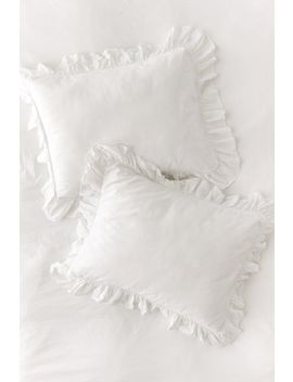 Washed Cotton Overscale Ruffle Sham Set by Urban Outfitters