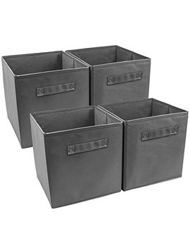 Sorbus Foldable Storage Cube Basket Bin (4 Pack, Grey) by Sorbus