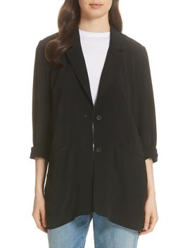 Long Notch Collar Jacket by Eileen Fisher