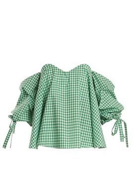 Gabriella Off The Shoulder Gingham Top by Caroline Constas
