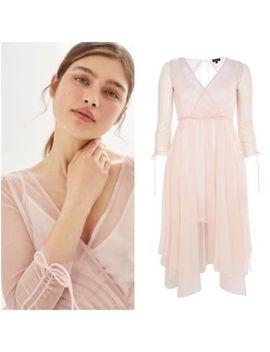 Bnwt Topshop Pink Ballerina Mesh Wrap Ruffle Midi Dress 12 by Topshop