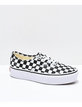 Vans Authentic Platform Checkerboard Skate Shoes by Vans