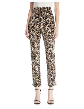 Leopard Print Velvet High Waist Skinny Ankle Pants by Rebecca Taylor