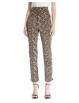 Leopard Print Velvet High Waist Skinny Ankle Pants by Rebecca Taylor
