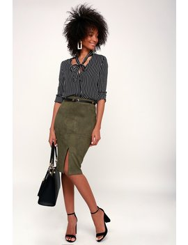 Total Allure Olive Green Suede Pencil Skirt by Lulu's