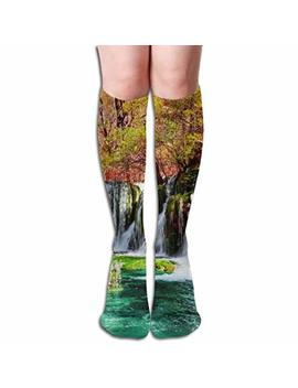 Fyw Beautiful Waterfall And Azure Lake With Crystal Clear Water Among Fall Woods In Jiuzhaigou Nature Mens & Womens Knee High Socks For Varicose Veins Blood Circulation by Fyw