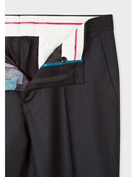 Men's Mid Fit Black Wool Trousers by Paul Smith