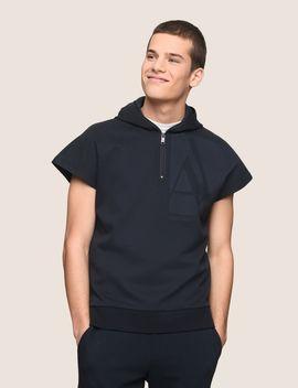 Zippered Hood Short Sleeve Sweatshirt by Armani Exchange