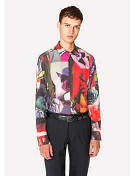 Men's Slim Fit 'rose Collage' Print Cotton Blend Shirt by Paul Smith