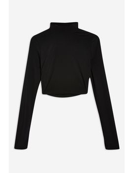 **Black Gathered High Neck Crop Top By Club L by Topshop
