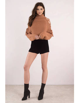 Lara Lace Up Black Turtleneck Sweater by Tobi