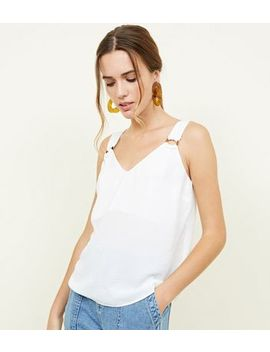Off White Faux Horn Buckle Strap Cami by New Look
