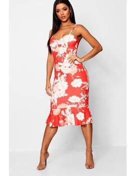 Floral Print Ruched Front Fluted Midi Dress by Boohoo