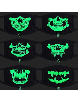 Hunt Gold New Cosplay Luminous Cotton Black Cartoon Funny Skull Teeth Anti Dust Anti Smoke Half Face Mouth Mask For Halloween Christmas Birthday Party(Random) by Hunt Gold