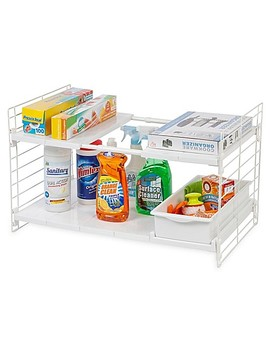 Iris® Expandable Sliding Drawer Under Sink Organizer In White by Bed Bath And Beyond