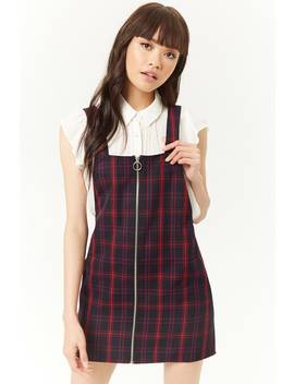 Plaid Pull Ring Zipper Overall Dress by Forever 21