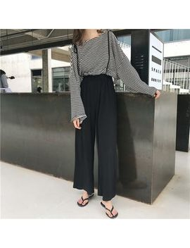 Striped Long Sleeve T Shirt / Wide Leg Suspender Pants by Monroll