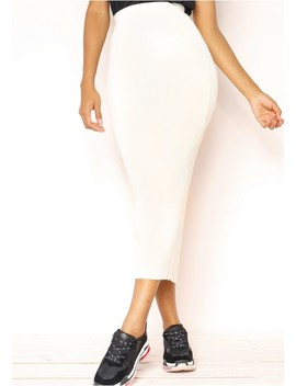 Coco Cream Ribbed Knit Midi Skirt by Missy Empire