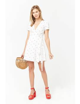 Heart Print Surplice Wrap Dress by Forever 21