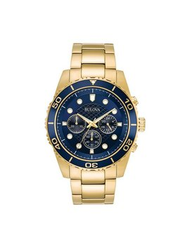 Bulova Men's Gold Plated Navy Blue Dial Chronograph Watch by Argos