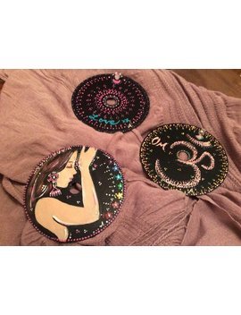 Trio Namaste Acrylic Hand Painting On Recycled Cd With Magnets by Imbluefordiabetes