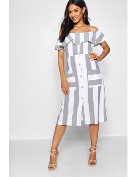 Off The Shoulder Wide Stripe Midi Dress by Boohoo