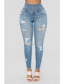 Rachel High Rise Distressed Jeans   Medium Blue by Fashion Nova