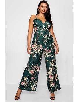 Plus Floral Wrap Front Jumpsuit by Boohoo