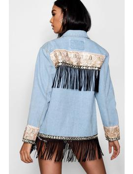 Tapestry Back Denim Jacket by Boohoo