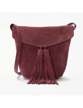 And/Or Mila Suede Flapover Tassel Cross Body Bag, Wine by And/Or
