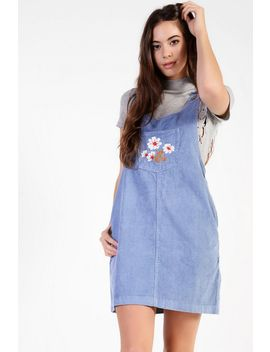 **Embroidered Corduroy Pinafore Dress By Glamorous by Topshop